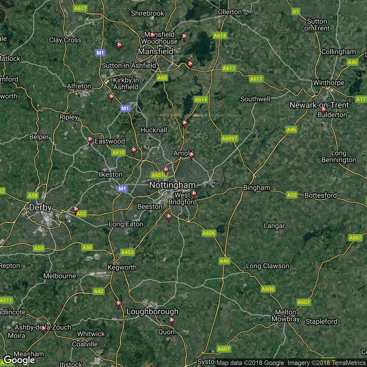 Map Of England Midlands.East Midlands Counties League Football Grounds In England Football