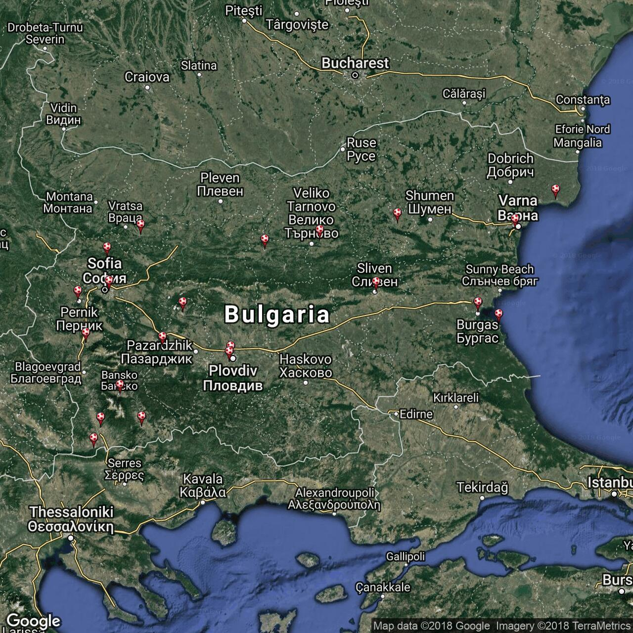 Bulgarian Teams Football Grounds In Bulgaria Football Ground Map