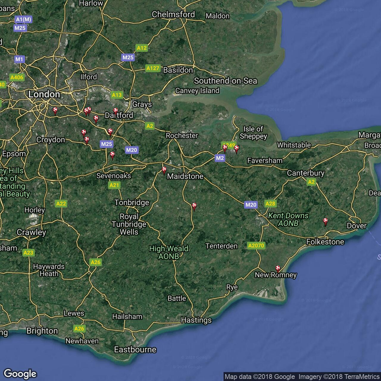 Kent Map Of England.Kent County League Premier Football Grounds In England Football