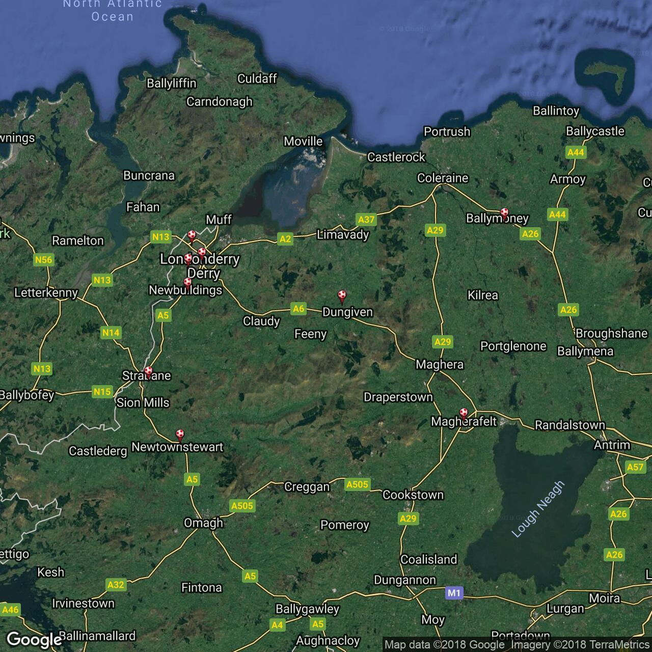 Plain Map Of Ireland.Northern Ireland Intermediate League Football Grounds In Northern