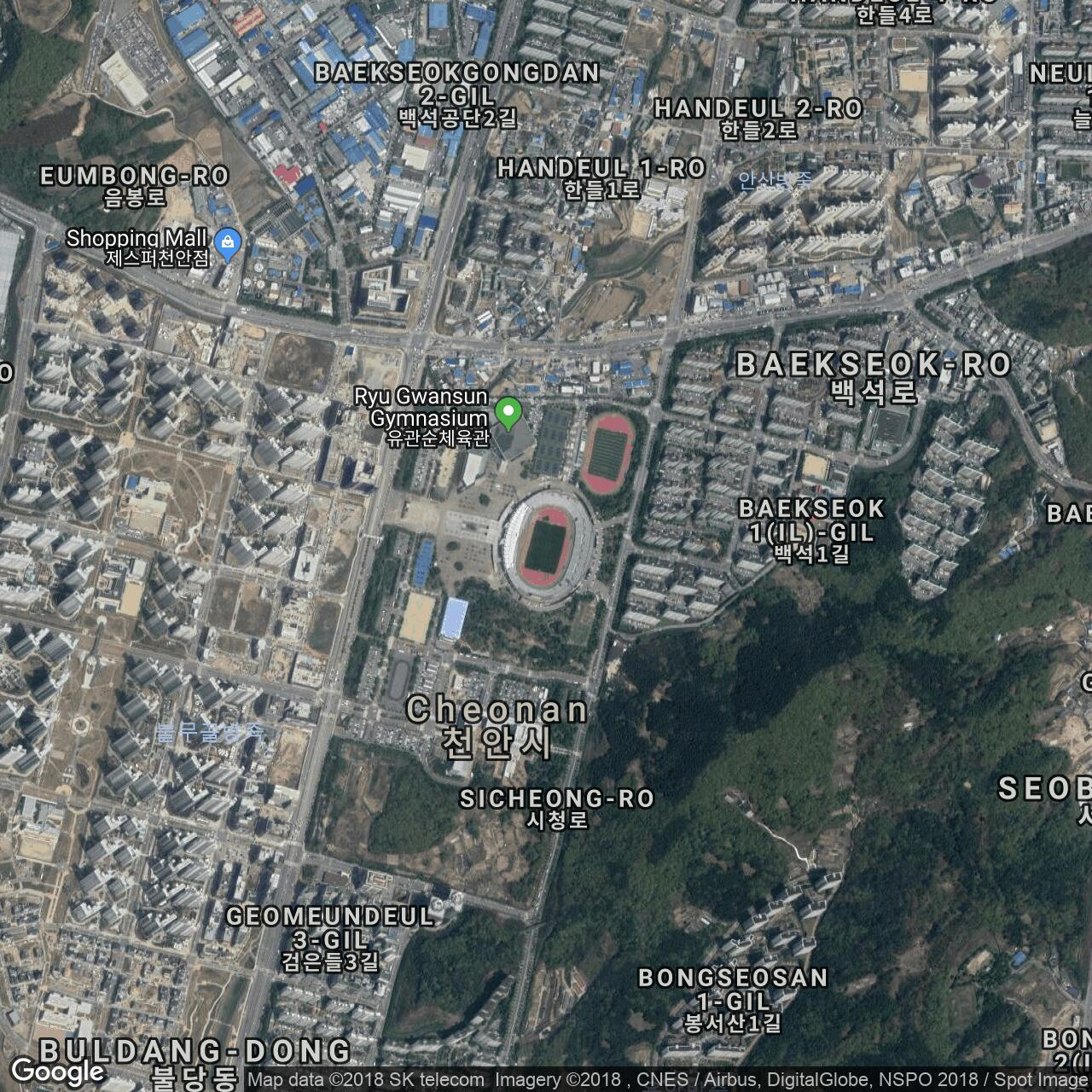 Cheonan Baeksok Stadium, home to Cheonan City FC - Football Ground Map