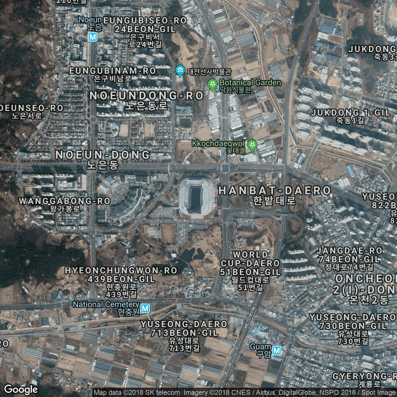Daejeon World Cup Stadium, home to Daejeon Citizen - Football Ground Map