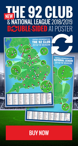 Get the double-sided 92 Club & National League map poster - 2018/2019 season