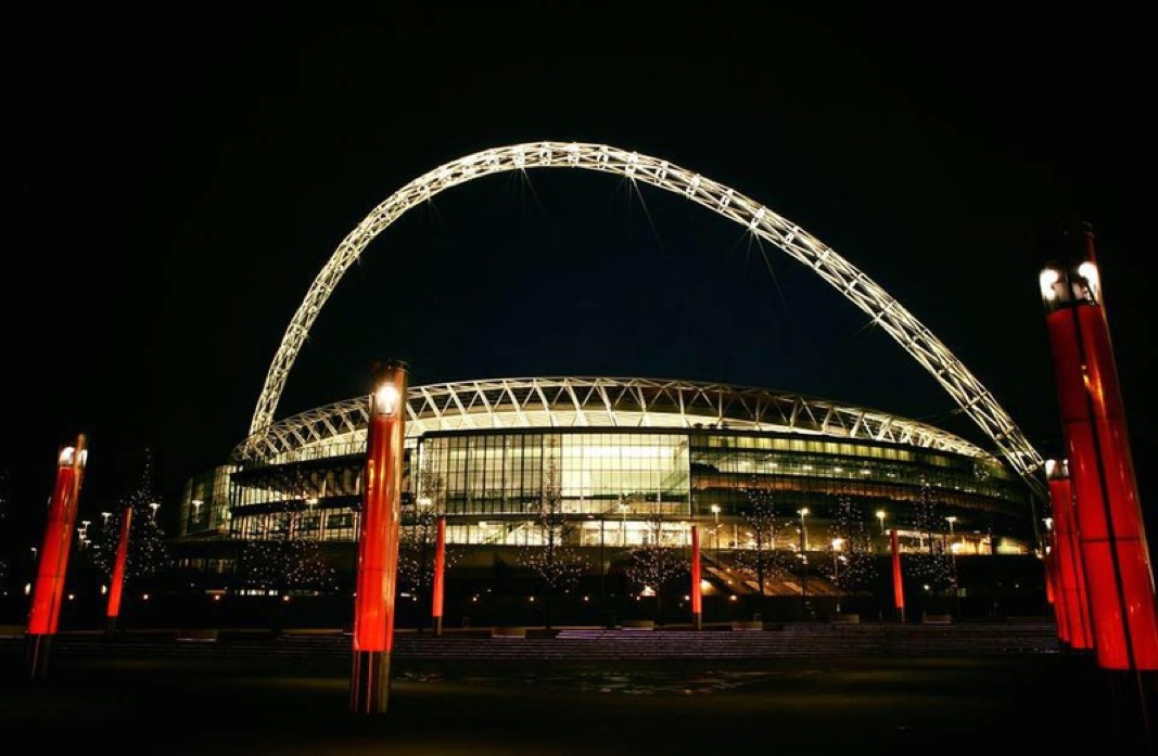 Wembley Stadium at night