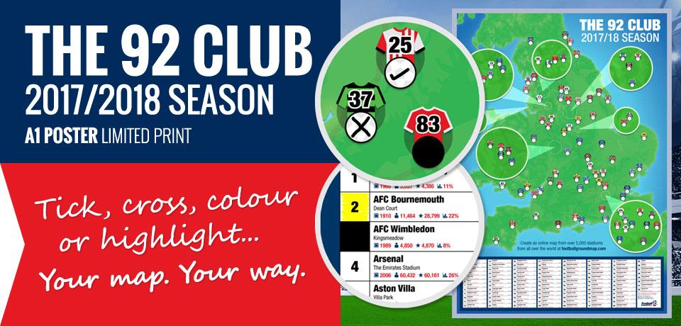 92 Club Football Stadium Map Wall Poster - 2017/2018 Season