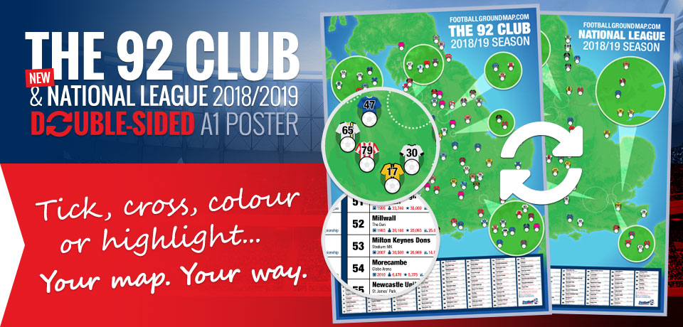 92 Club and National League double-sided A1 football ground map poster 2018/2019 season