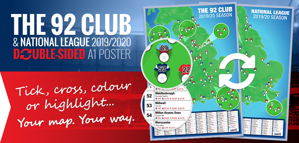2019/2020 season 92 Club and National League A1 football stadium map poster