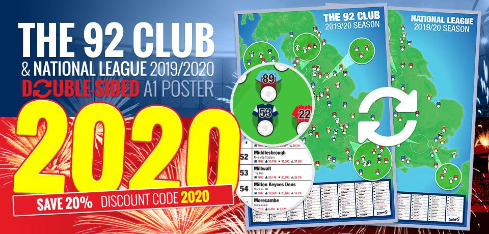 2019/2020 season 92 Club and National League A1 football stadium map poster